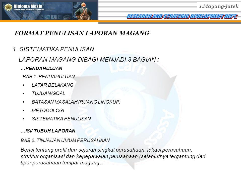FORMAT PENULISAN LAPORAN MAGANG 1.