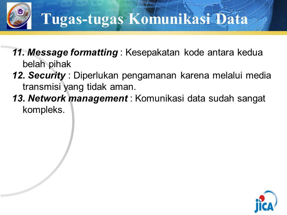 Tugas-tugas Komunikasi Data 11. Message formatting : Kesepakatan kode antara kedua belah pihak 12.