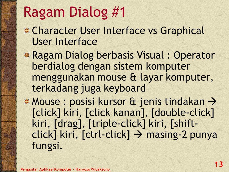 Pengantar Aplikasi Komputer – Haryoso Wicaksono 13 Ragam Dialog #1 Character User Interface vs Graphical User Interface Ragam Dialog berbasis Visual :