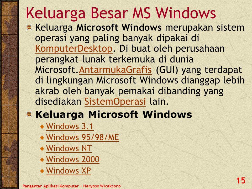 Pengantar Aplikasi Komputer – Haryoso Wicaksono 15 Keluarga Besar MS Windows Keluarga Microsoft Windows merupakan sistem operasi yang paling banyak di