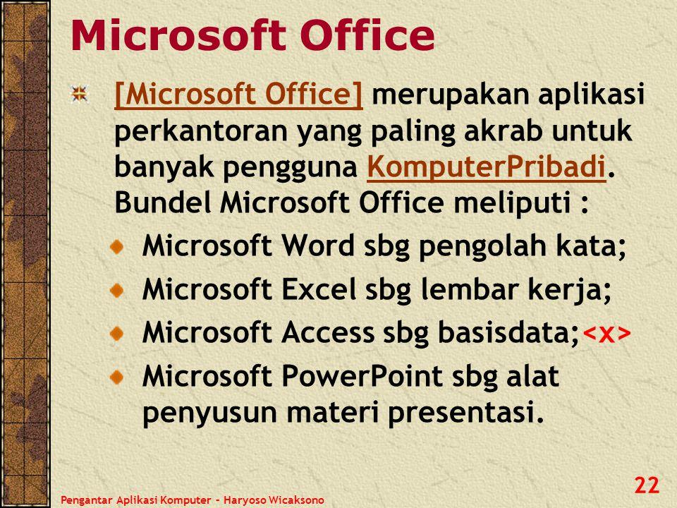Pengantar Aplikasi Komputer – Haryoso Wicaksono 22 Microsoft Office [Microsoft Office][Microsoft Office] merupakan aplikasi perkantoran yang paling ak