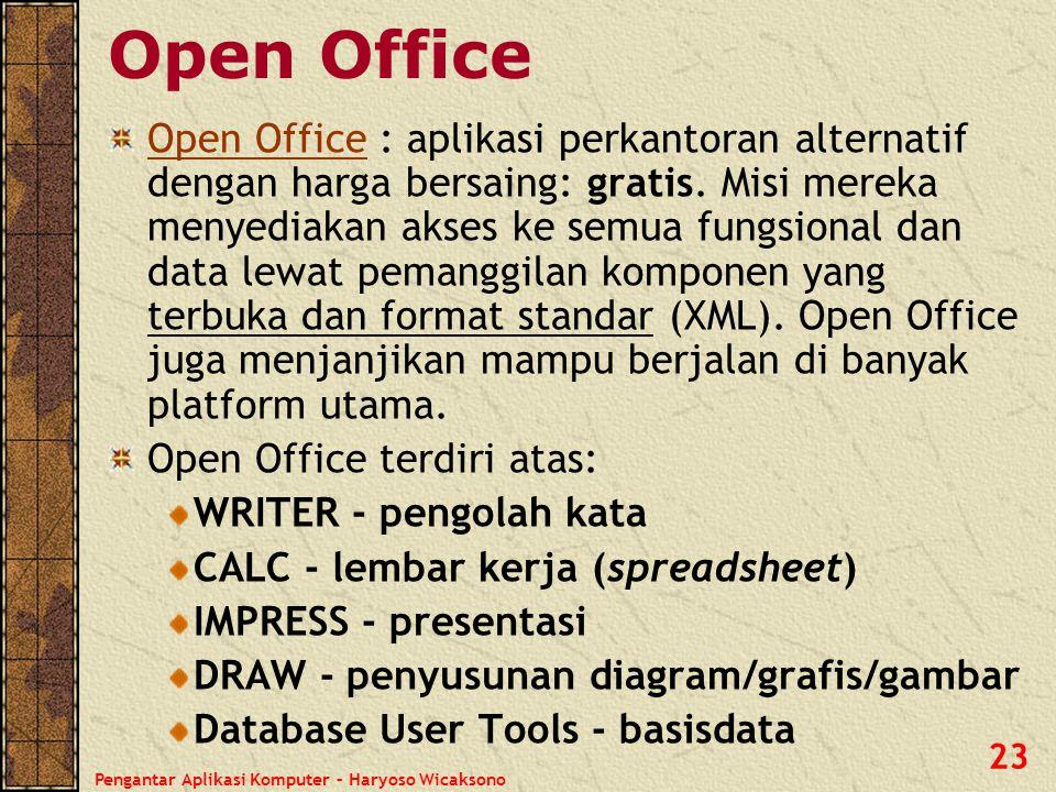 Pengantar Aplikasi Komputer – Haryoso Wicaksono 23 Open Office Open Office : aplikasi perkantoran alternatif dengan harga bersaing: gratis. Misi merek