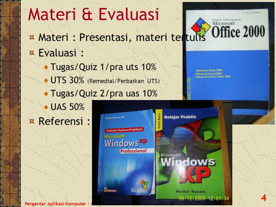 Pengantar Aplikasi Komputer – Haryoso Wicaksono 4 Materi & Evaluasi Materi : Presentasi, materi tertulis Evaluasi : Tugas/Quiz 1/pra uts 10% UTS 30% (