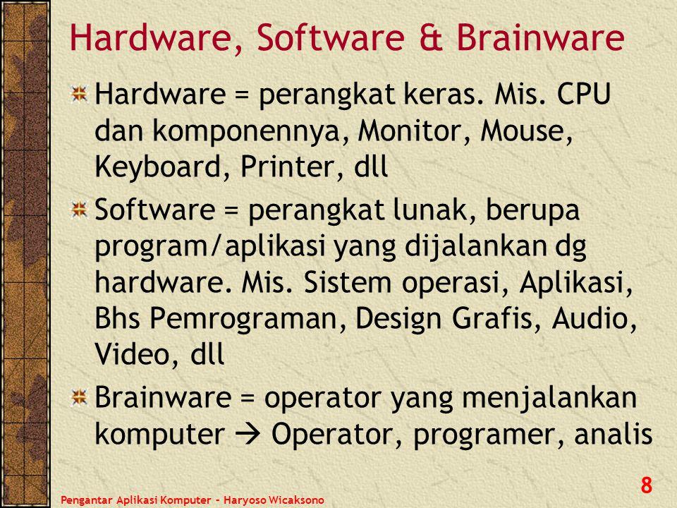 Pengantar Aplikasi Komputer – Haryoso Wicaksono 8 Hardware, Software & Brainware Hardware = perangkat keras. Mis. CPU dan komponennya, Monitor, Mouse,