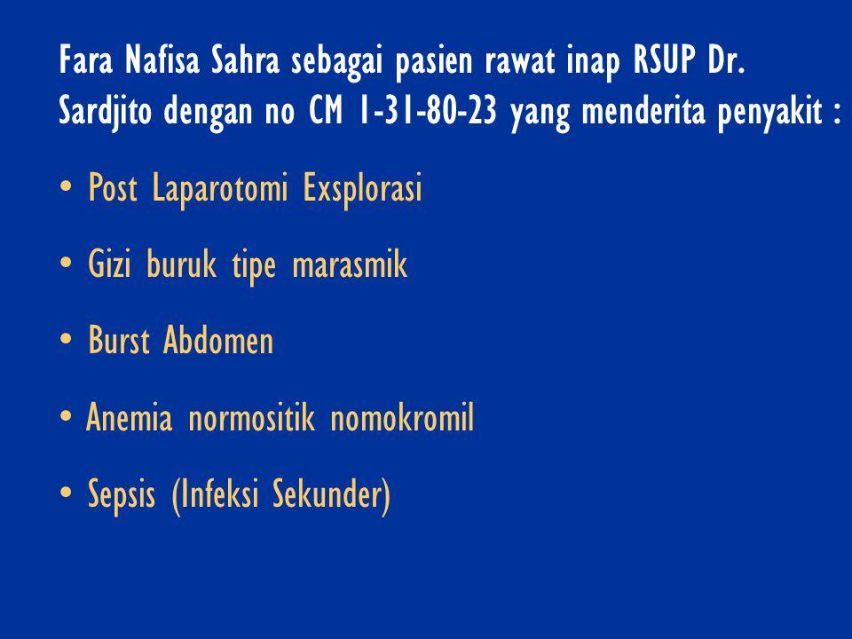 Fara Nafisa Sahra sebagai pasien rawat inap RSUP Dr. Sardjito dengan no CM 1-31-80-23 yang menderita penyakit : • Post Laparotomi Exsplorasi • Gizi bu