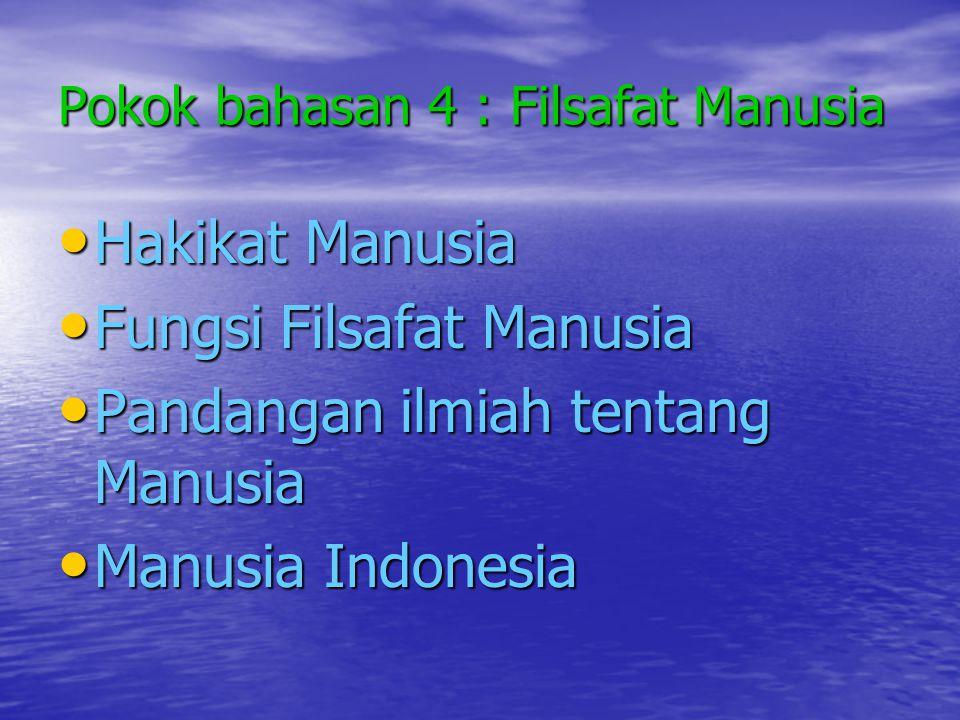 Pokok bahasan 4 : Filsafat Manusia • Hakikat Manusia • Fungsi Filsafat Manusia • Pandangan ilmiah tentang Manusia • Manusia Indonesia