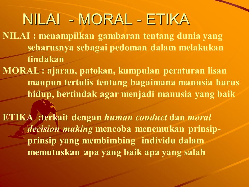 NILAI - MORAL - ETIKA NILAI : menampilkan gambaran tentang dunia yang seharusnya sebagai pedoman dalam melakukan tindakan MORAL : ajaran, patokan, kum