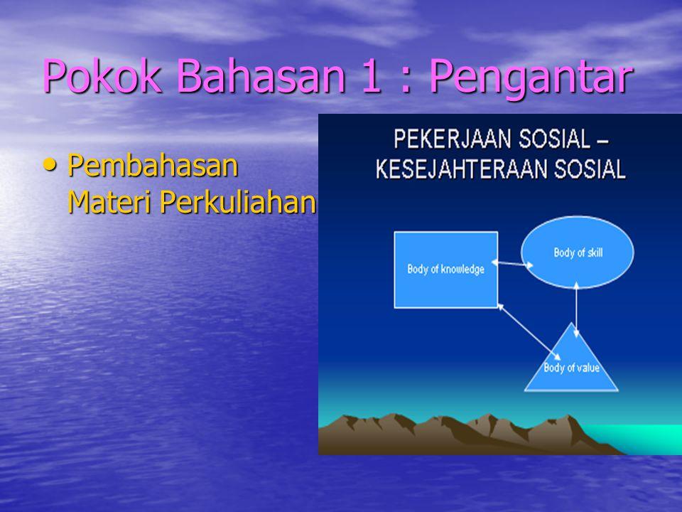 Pokok Bahasan 6 : Nilai Pekerjaan Sosial  Pemahaman NIlai Pekerjaan Sosial  Nilai-nilai Pekerjaan Sosial