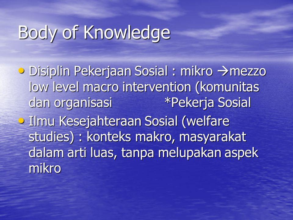 Body of Knowledge • Disiplin Pekerjaan Sosial : mikro  mezzo low level macro intervention (komunitas dan organisasi*Pekerja Sosial • Ilmu Kesejahteraan Sosial (welfare studies) : konteks makro, masyarakat dalam arti luas, tanpa melupakan aspek mikro
