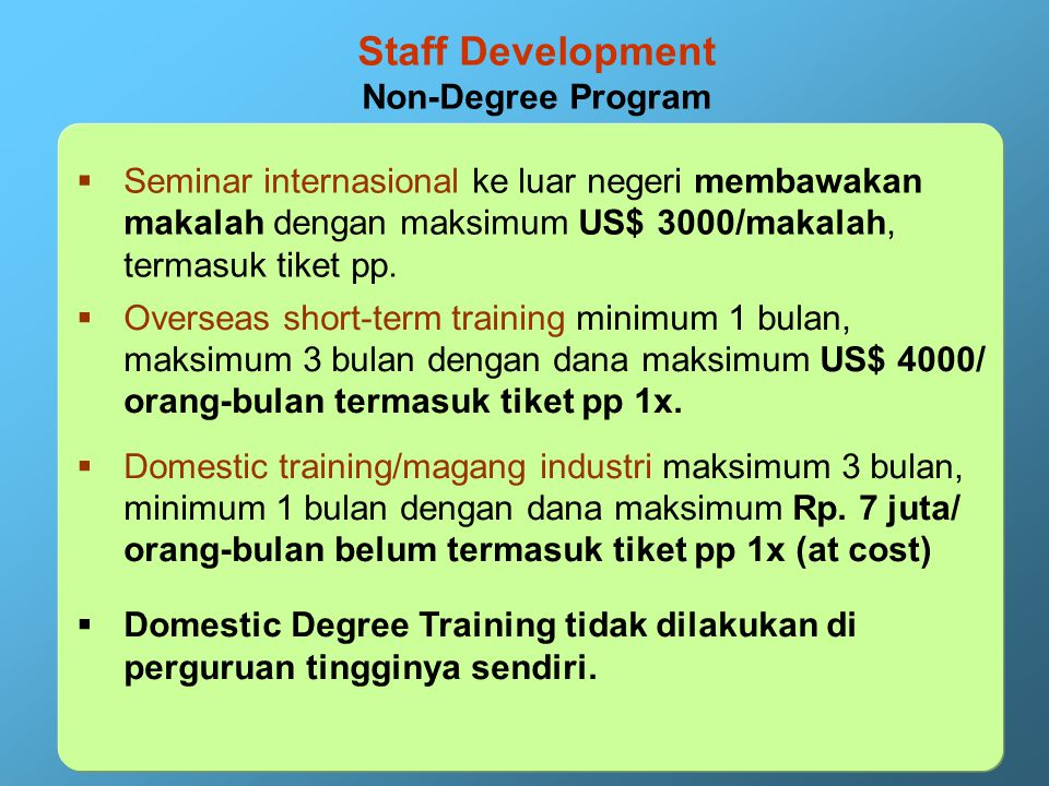 Staff Development Degree Program 2. Unit Cost Maksimum: Overseas: S2/S3 degree: US$ 27000/orang-tahun termasuk tiket pp 1x. Domestic: S2 degree Rp 18,