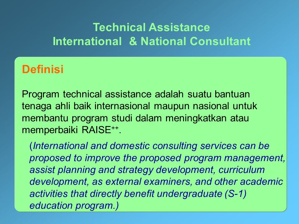 ELIGIBLE COST COMPONENT TECHNICAL ASSISTANCE International Domestic Planning & Development Curriculum Development Research Activities Networking- Reve