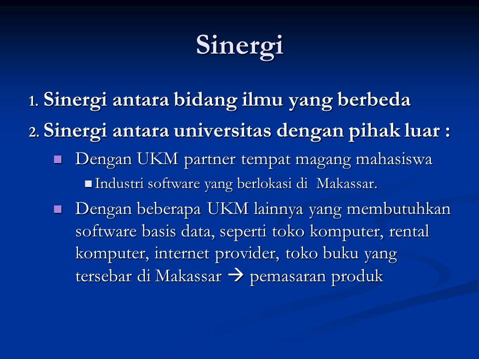Sinergi 1. Sinergi antara bidang ilmu yang berbeda 2. Sinergi antara universitas dengan pihak luar :  Dengan UKM partner tempat magang mahasiswa  In
