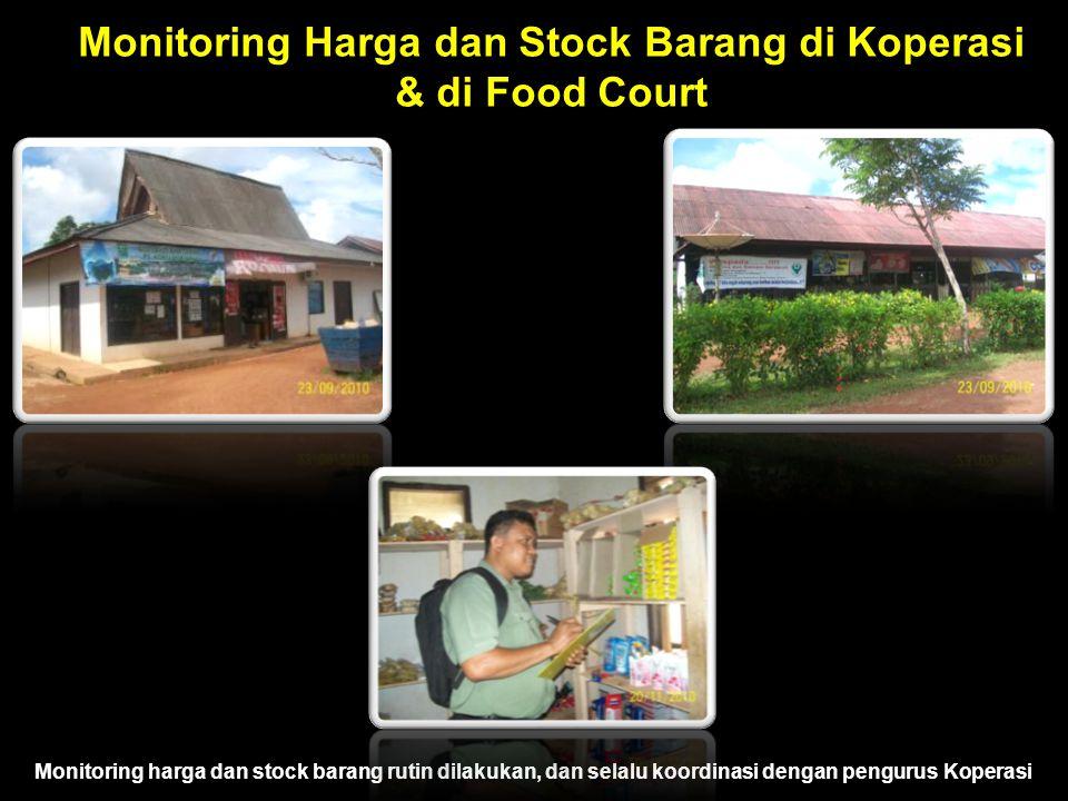 Monitoring Harga dan Stock Barang di Koperasi & di Food Court Monitoring harga dan stock barang rutin dilakukan, dan selalu koordinasi dengan pengurus