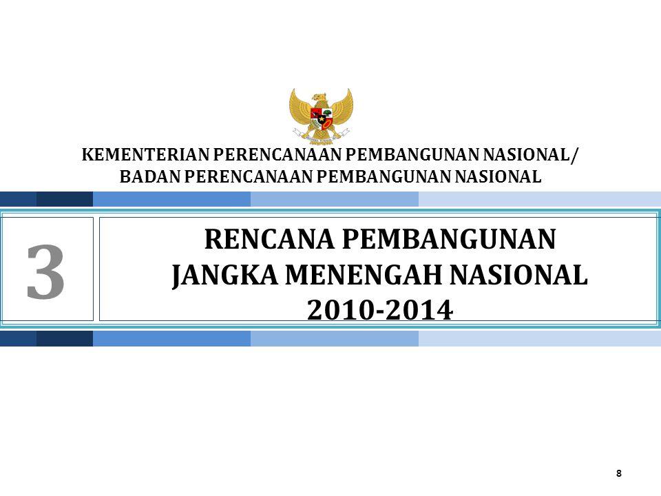 KEMENTERIAN PPN/ BAPPENAS ARAH KEBIJAKAN PENGEMBANGAN WILAYAH 2010-2014 •Strategi dan arah kebijakan pengembangan wilayah : 1.Mendorong pertumbuhan wilayah-wilayah potensial di luar Jawa-Bali dengan tetap menjaga momentum pertumbuhan di wilayah Jawa-Bali; 2.Meningkatan keterkaitan antarwilayah melalui peningkatan perdagangan antarwilayah untuk mendukung perekonomian domestik; 3.Meningkat daya saing daerah melalui pengembangan sektor-sektor unggulan di tiap wilayah; 4.Mendorong percepatan pembangunan daerat tertinggal, kawasan strategis dan cepat tumbuh, kawasan perbatasan, kawasan terdepan, kawasan terluar dan daerah rawan bencana; serta 5.Mendorong pengembangan wilayah laut dan sektor-sektor kelautan.