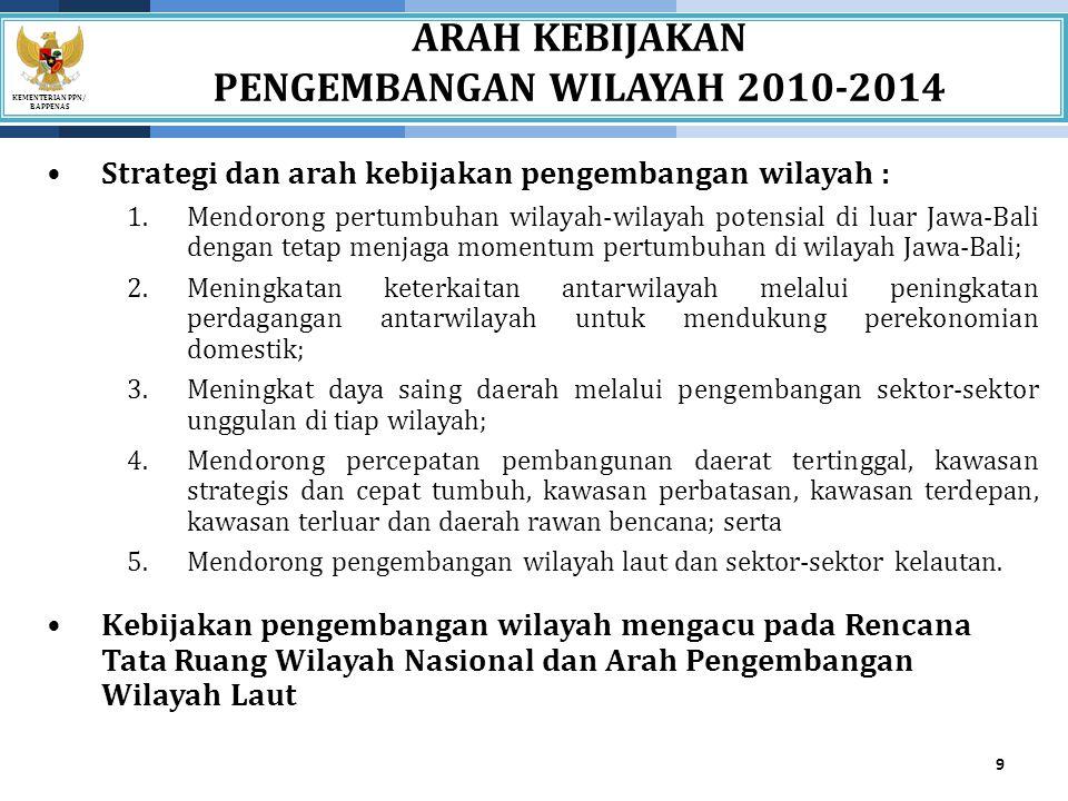 KEMENTERIAN PPN/ BAPPENAS Prioritas Pengembangan Wilayah Sulawesi 20