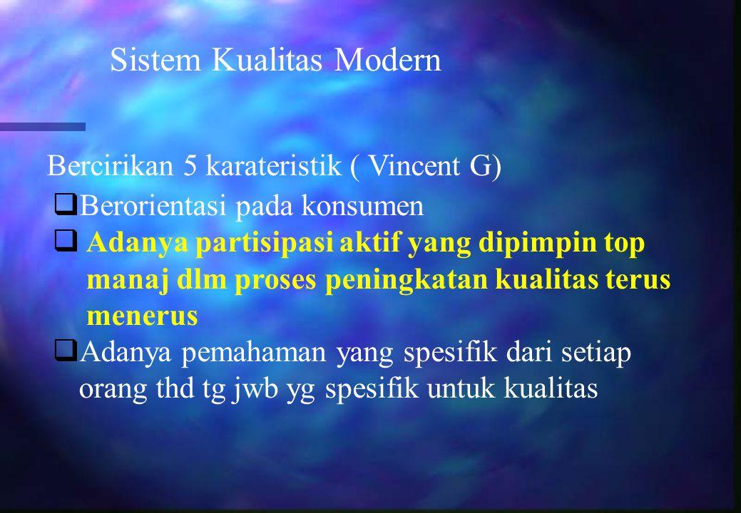 Sistem Kualitas Modern Bercirikan 5 karateristik ( Vincent G)  Berorientasi pada konsumen  Adanya partisipasi aktif yang dipimpin top manaj dlm pros
