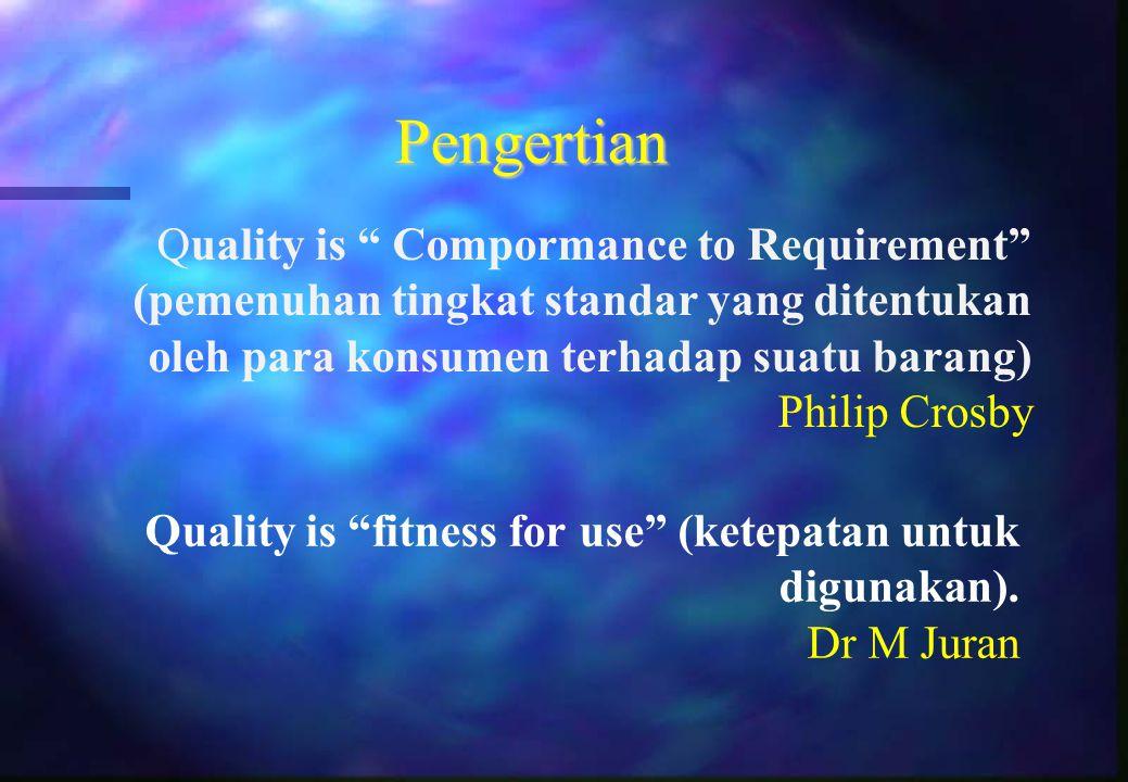 """Pengertian Quality is """" Compormance to Requirement"""" (pemenuhan tingkat standar yang ditentukan oleh para konsumen terhadap suatu barang) Philip Crosby"""