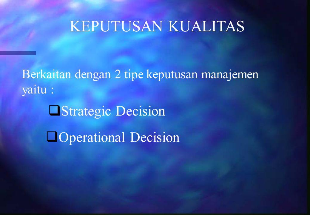 KEPUTUSAN KUALITAS Berkaitan dengan 2 tipe keputusan manajemen yaitu :  Strategic Decision  Operational Decision