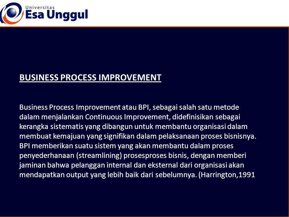 BUSINESS PROCESS IMPROVEMENT Business Process Improvement atau BPI, sebagai salah satu metode dalam menjalankan Continuous Improvement, didefinisikan sebagai kerangka sistematis yang dibangun untuk membantu organisasi dalam membuat kemajuan yang signifikan dalam pelaksanaan proses bisnisnya.