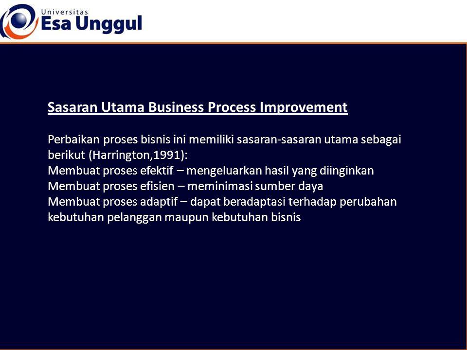 Sasaran Utama Business Process Improvement Perbaikan proses bisnis ini memiliki sasaran-sasaran utama sebagai berikut (Harrington,1991): Membuat proses efektif – mengeluarkan hasil yang diinginkan Membuat proses efisien – meminimasi sumber daya Membuat proses adaptif – dapat beradaptasi terhadap perubahan kebutuhan pelanggan maupun kebutuhan bisnis