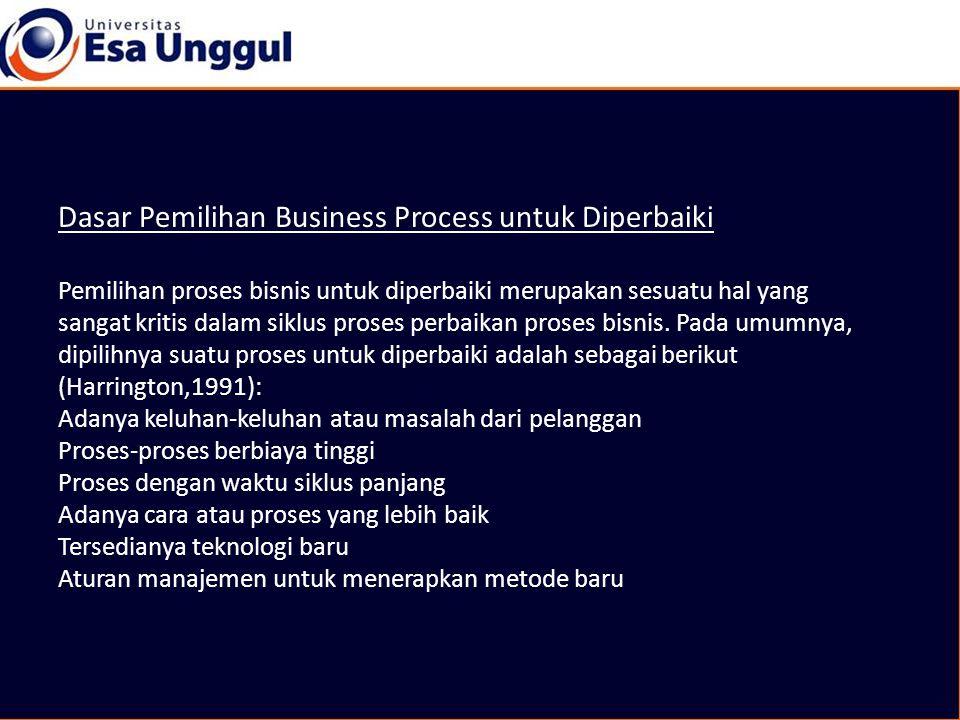 Dasar Pemilihan Business Process untuk Diperbaiki Pemilihan proses bisnis untuk diperbaiki merupakan sesuatu hal yang sangat kritis dalam siklus proses perbaikan proses bisnis.
