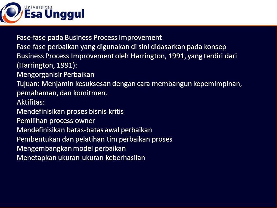 Fase-fase pada Business Process Improvement Fase-fase perbaikan yang digunakan di sini didasarkan pada konsep Business Process Improvement oleh Harrington, 1991, yang terdiri dari (Harrington, 1991): Mengorganisir Perbaikan Tujuan: Menjamin kesuksesan dengan cara membangun kepemimpinan, pemahaman, dan komitmen.