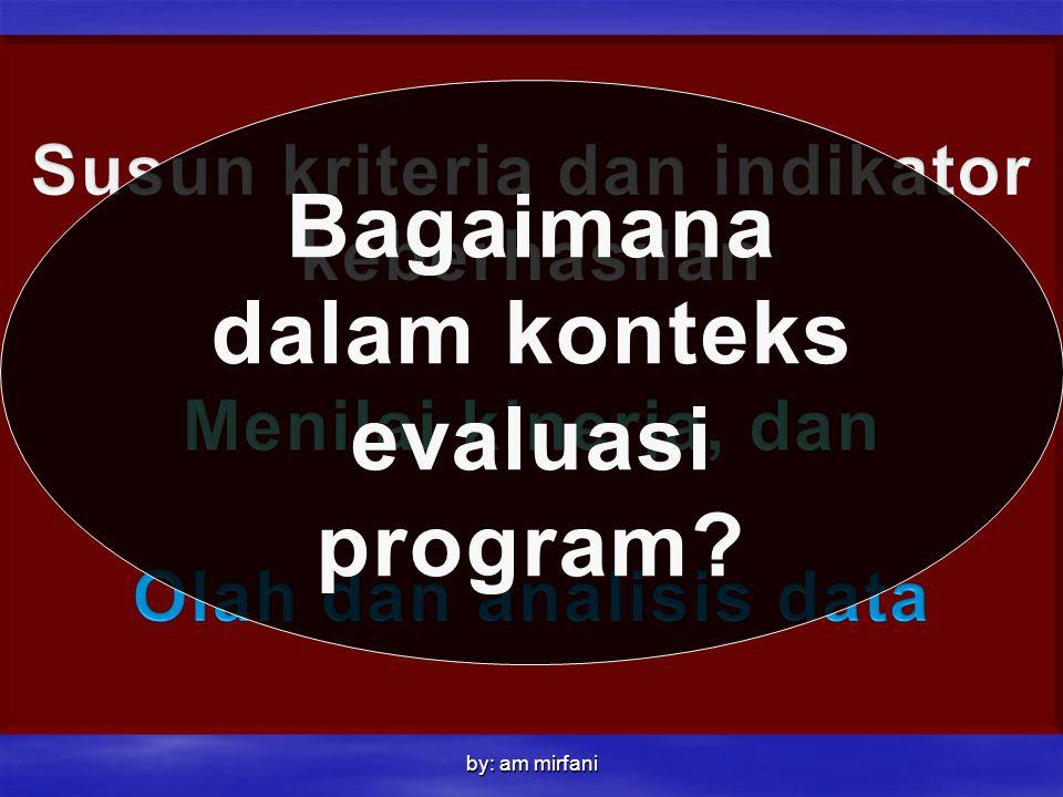 by: am mirfani Bagaimana dalam konteks evaluasi program?
