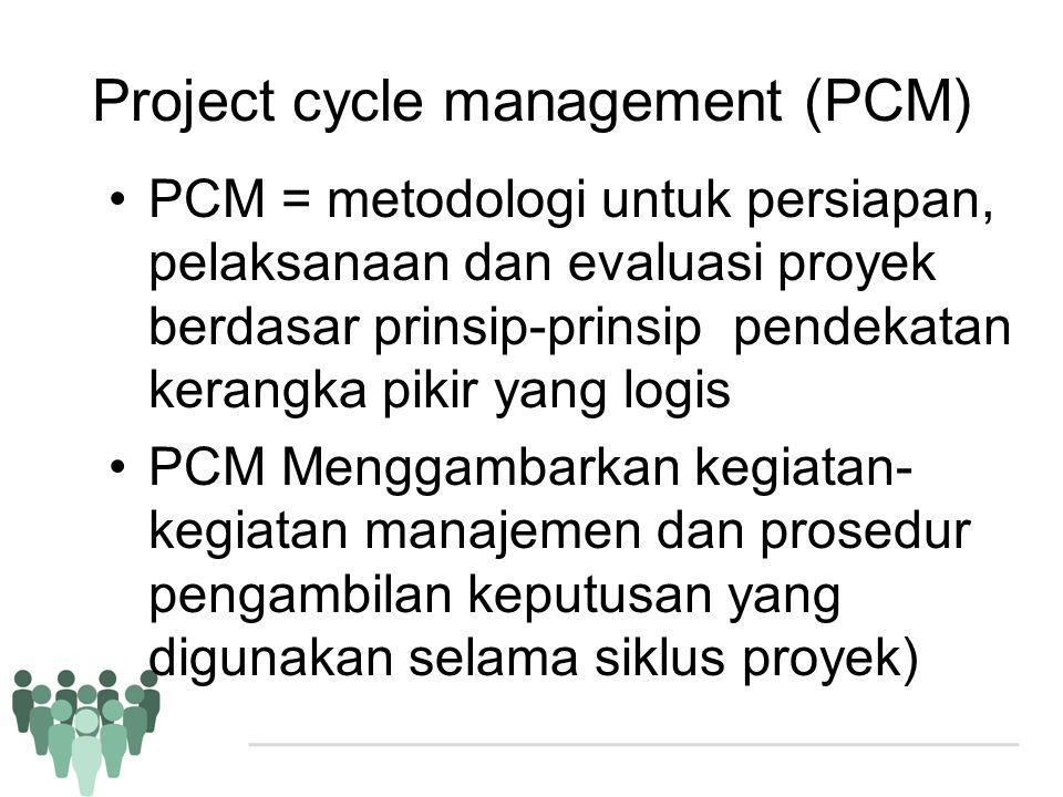Project cycle management (PCM) •PCM = metodologi untuk persiapan, pelaksanaan dan evaluasi proyek berdasar prinsip-prinsip pendekatan kerangka pikir y