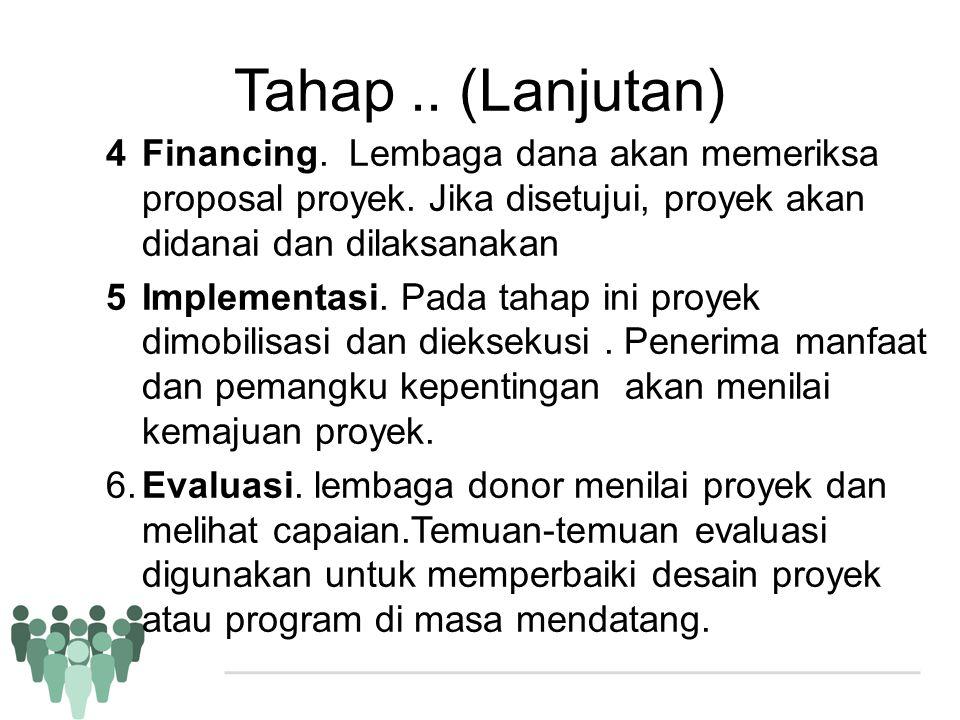 Tahap.. (Lanjutan) 4Financing. Lembaga dana akan memeriksa proposal proyek. Jika disetujui, proyek akan didanai dan dilaksanakan 5Implementasi. Pada t