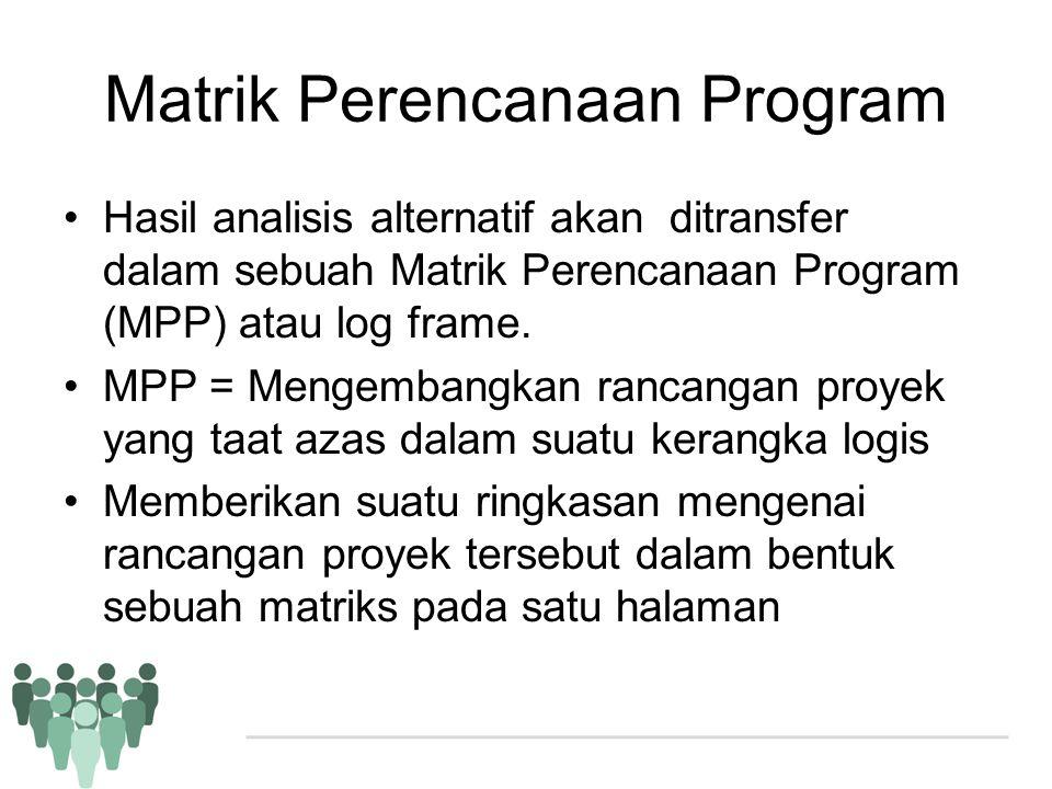 Matrik Perencanaan Program •Hasil analisis alternatif akan ditransfer dalam sebuah Matrik Perencanaan Program (MPP) atau log frame. •MPP = Mengembangk