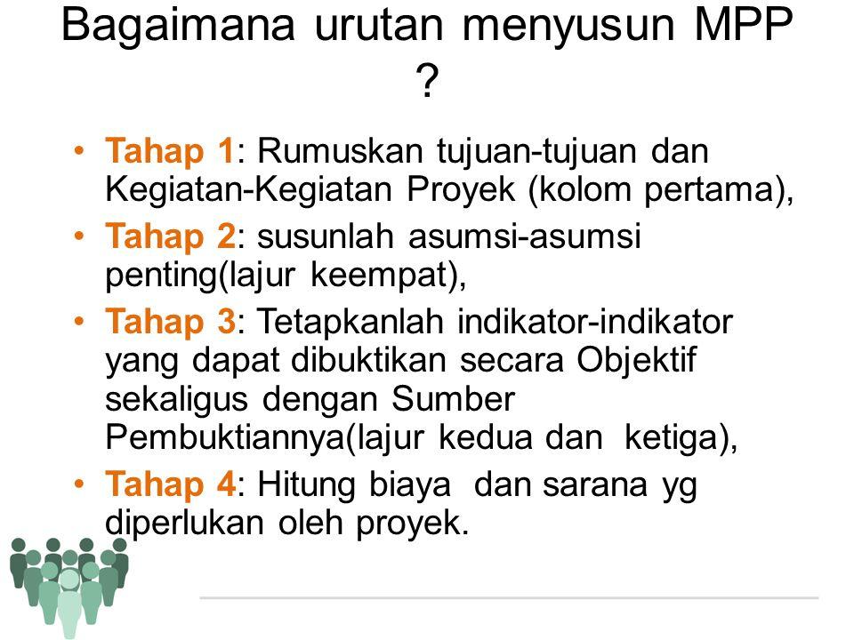 Bagaimana urutan menyusun MPP ? •Tahap 1: Rumuskan tujuan-tujuan dan Kegiatan-Kegiatan Proyek (kolom pertama), •Tahap 2: susunlah asumsi-asumsi pentin