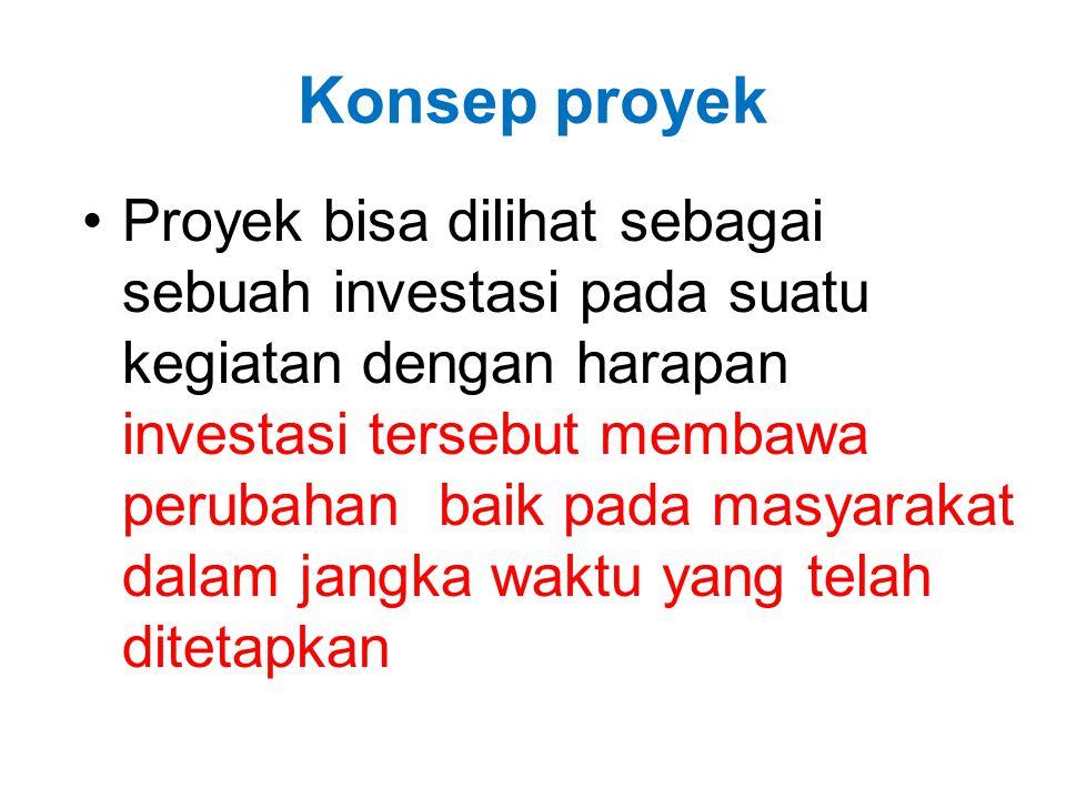 Konsep proyek •Proyek bisa dilihat sebagai sebuah investasi pada suatu kegiatan dengan harapan investasi tersebut membawa perubahan baik pada masyarak