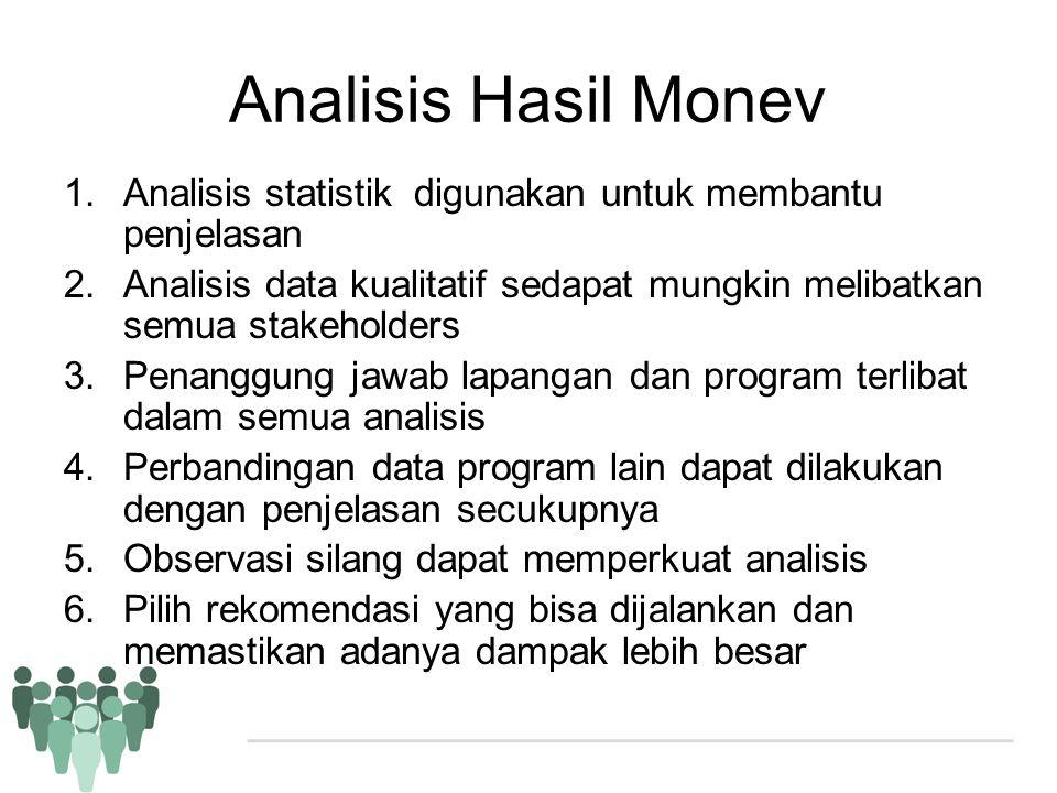 Analisis Hasil Monev 1.Analisis statistik digunakan untuk membantu penjelasan 2.Analisis data kualitatif sedapat mungkin melibatkan semua stakeholders