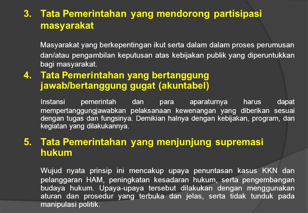 """Keempat belas Prinsip """"Good Governance"""" tersebut dapat dijelaskan sebagai berikut : 1. Tata Pemerintahan yang berwawasan ke depan (visi strategis) Sem"""