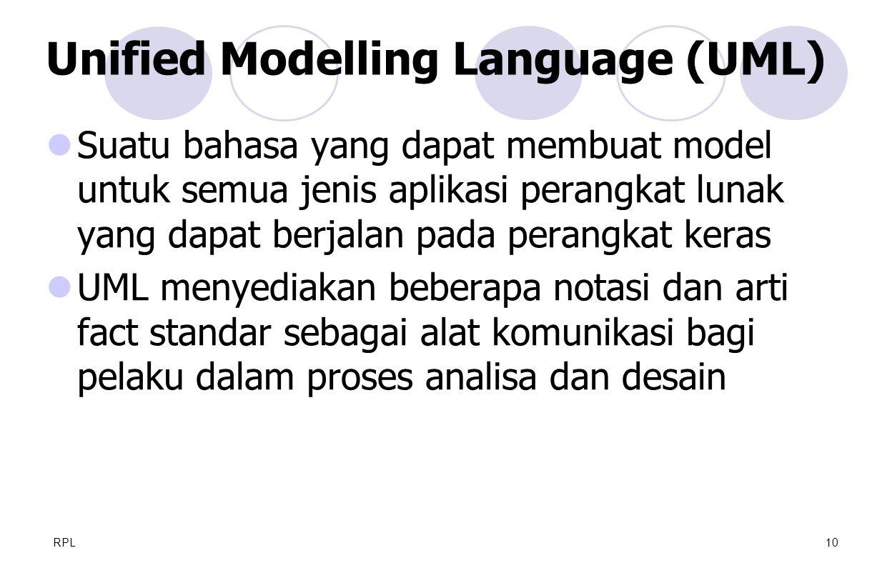 RPL10  Suatu bahasa yang dapat membuat model untuk semua jenis aplikasi perangkat lunak yang dapat berjalan pada perangkat keras  UML menyediakan be