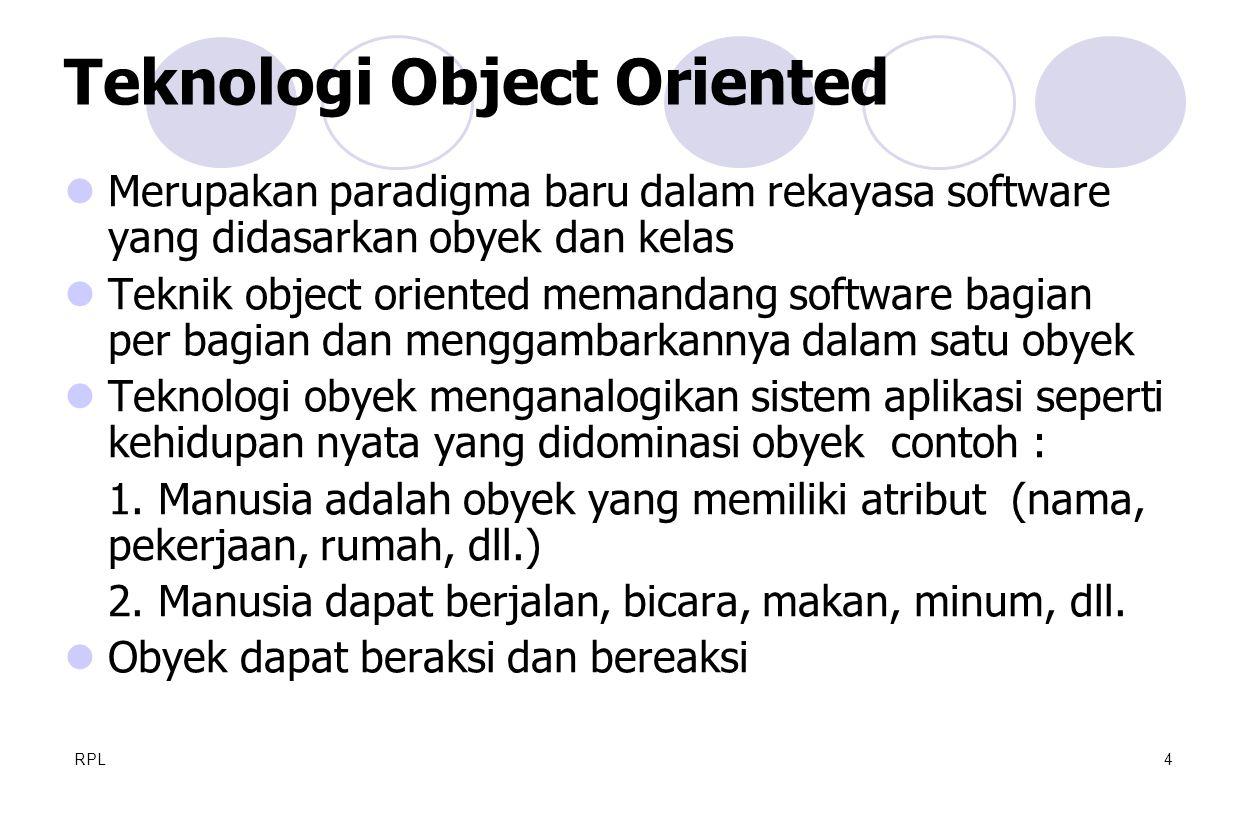 RPL4  Merupakan paradigma baru dalam rekayasa software yang didasarkan obyek dan kelas  Teknik object oriented memandang software bagian per bagian
