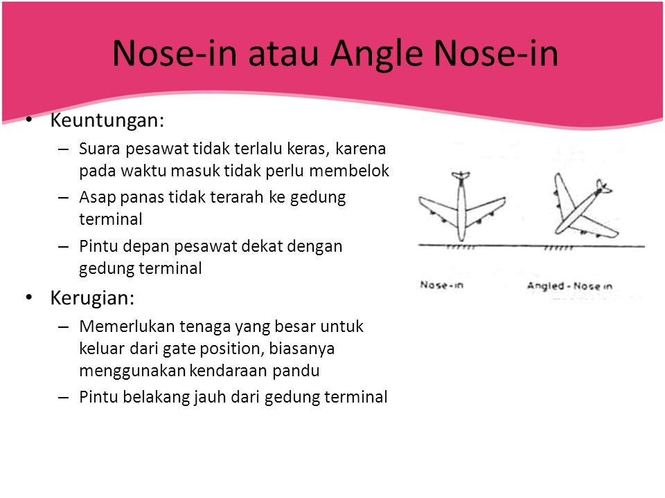 Nose-in atau Angle Nose-in • Keuntungan: – Suara pesawat tidak terlalu keras, karena pada waktu masuk tidak perlu membelok – Asap panas tidak terarah