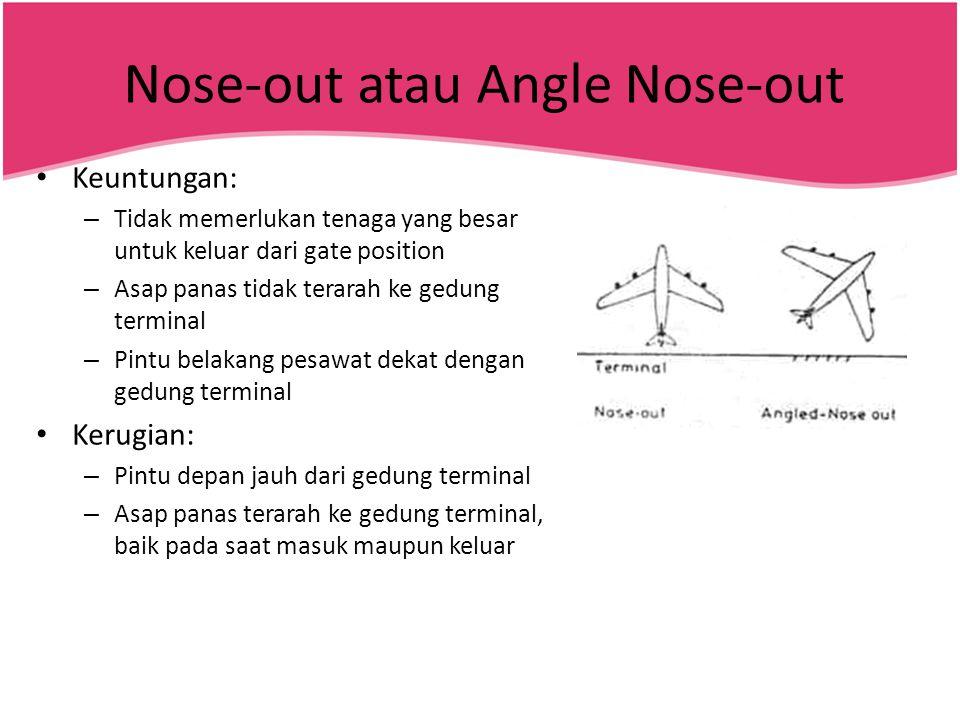 Nose-out atau Angle Nose-out • Keuntungan: – Tidak memerlukan tenaga yang besar untuk keluar dari gate position – Asap panas tidak terarah ke gedung t