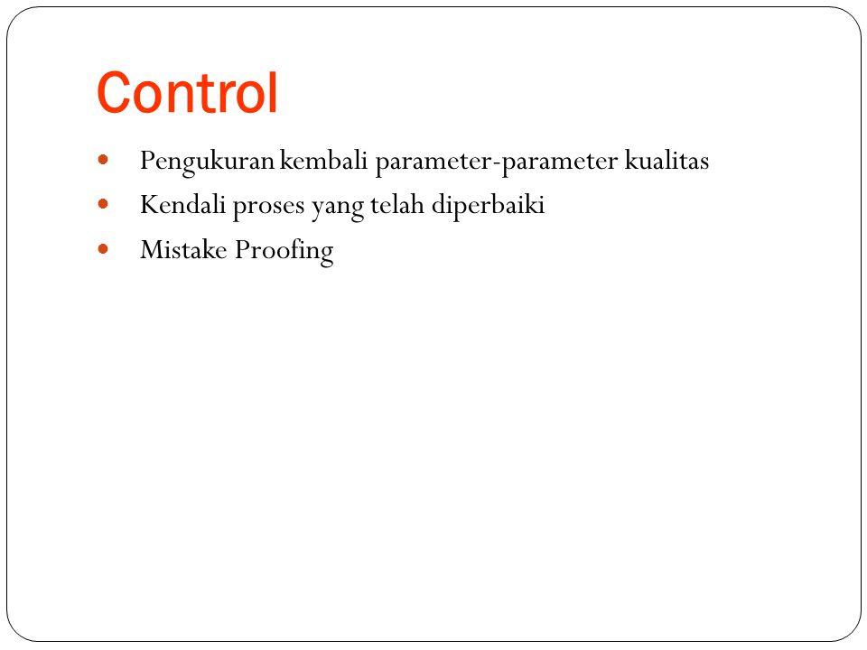 Control  Pengukuran kembali parameter-parameter kualitas  Kendali proses yang telah diperbaiki  Mistake Proofing