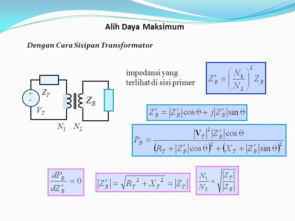 Dengan Cara Sisipan Transformator impedansi yang terlihat di sisi primer ZB ZB ++ ZTZT VTVT N 1 N 2 Alih Daya Maksimum