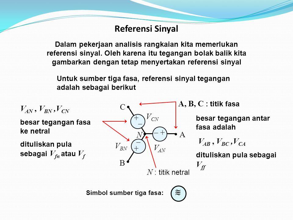 B A C N V AN V BN V CN  + +  + + Dalam pekerjaan analisis rangkaian kita memerlukan referensi sinyal.