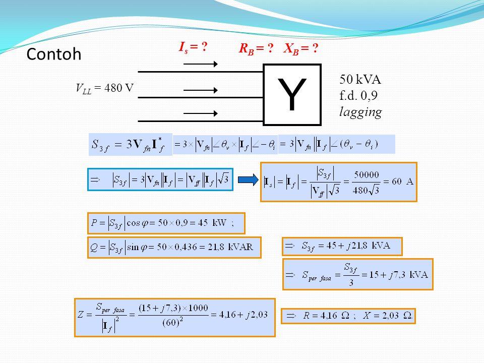 Y 50 kVA f.d. 0,9 lagging V LL = 480 V I s = ? R B = ? X B = ? Contoh