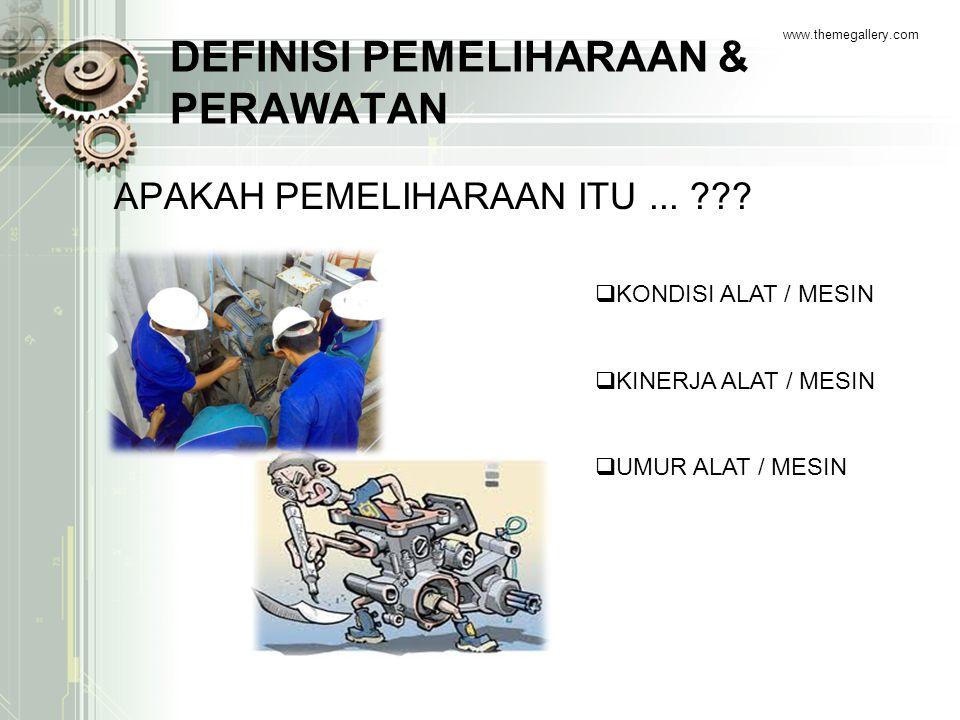 DEFINISI PEMELIHARAAN & PERAWATAN APAKAH PEMELIHARAAN ITU... ??? www.themegallery.com  KONDISI ALAT / MESIN  KINERJA ALAT / MESIN  UMUR ALAT / MESI