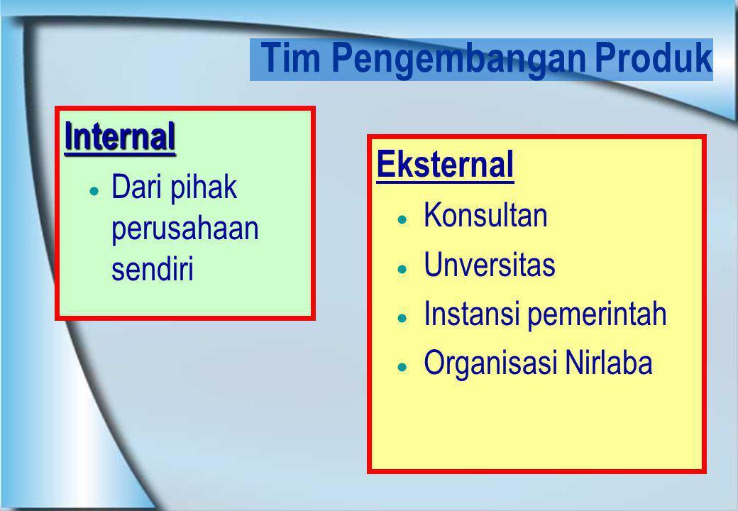 Tim Pengembangan Produk Internal  Dari pihak perusahaan sendiri Eksternal  Konsultan  Unversitas  Instansi pemerintah  Organisasi Nirlaba