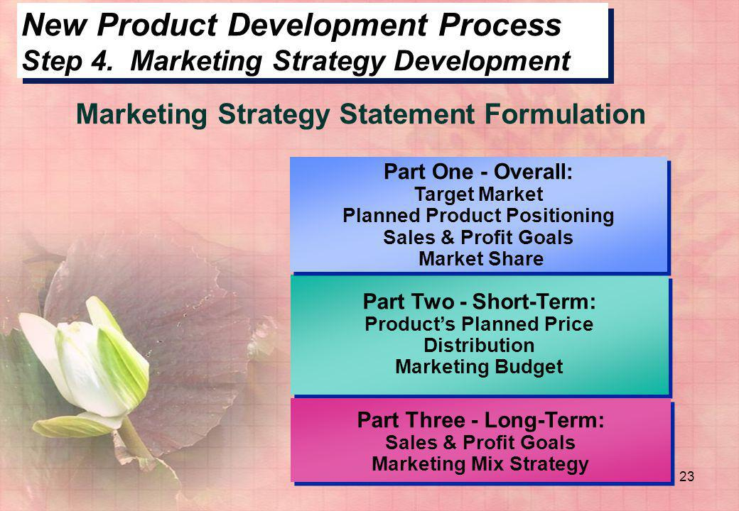 23 New Product Development Process Step 4. Marketing Strategy Development Part Two - Short-Term: Product's Planned Price Distribution Marketing Budget