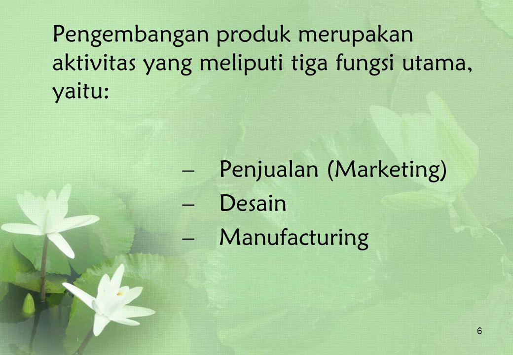 6 Pengembangan produk merupakan aktivitas yang meliputi tiga fungsi utama, yaitu: – P– Penjualan (Marketing) – D– Desain – M– Manufacturing