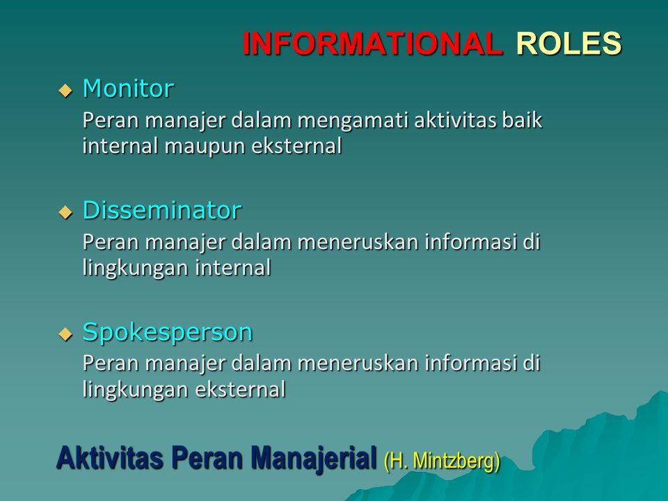  Monitor Peran manajer dalam mengamati aktivitas baik internal maupun eksternal  Disseminator Peran manajer dalam meneruskan informasi di lingkungan