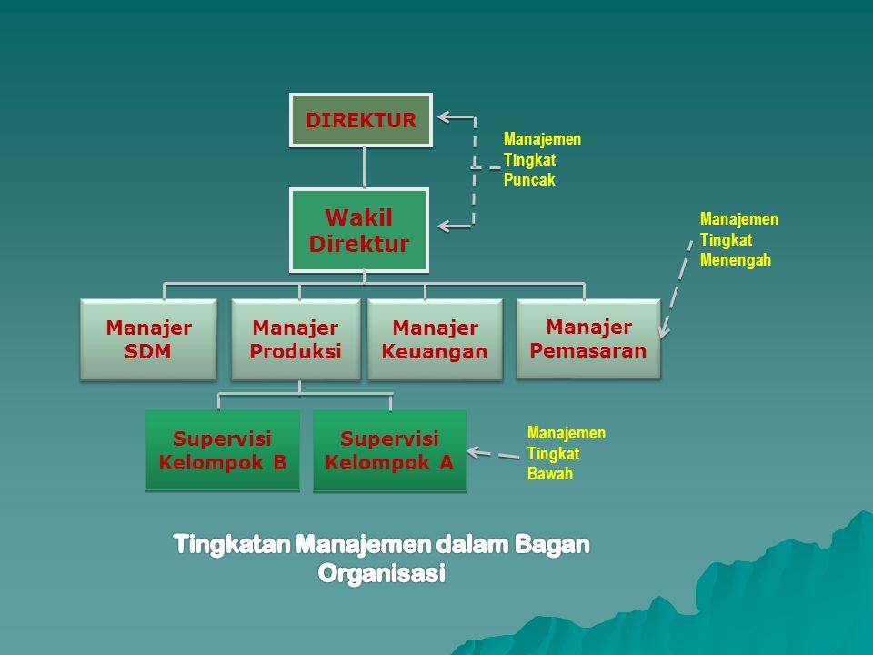 DIREKTUR Wakil Direktur Manajer SDM Manajer Produksi Manajer Keuangan Manajer Pemasaran Supervisi Kelompok B Supervisi Kelompok B Supervisi Kelompok A