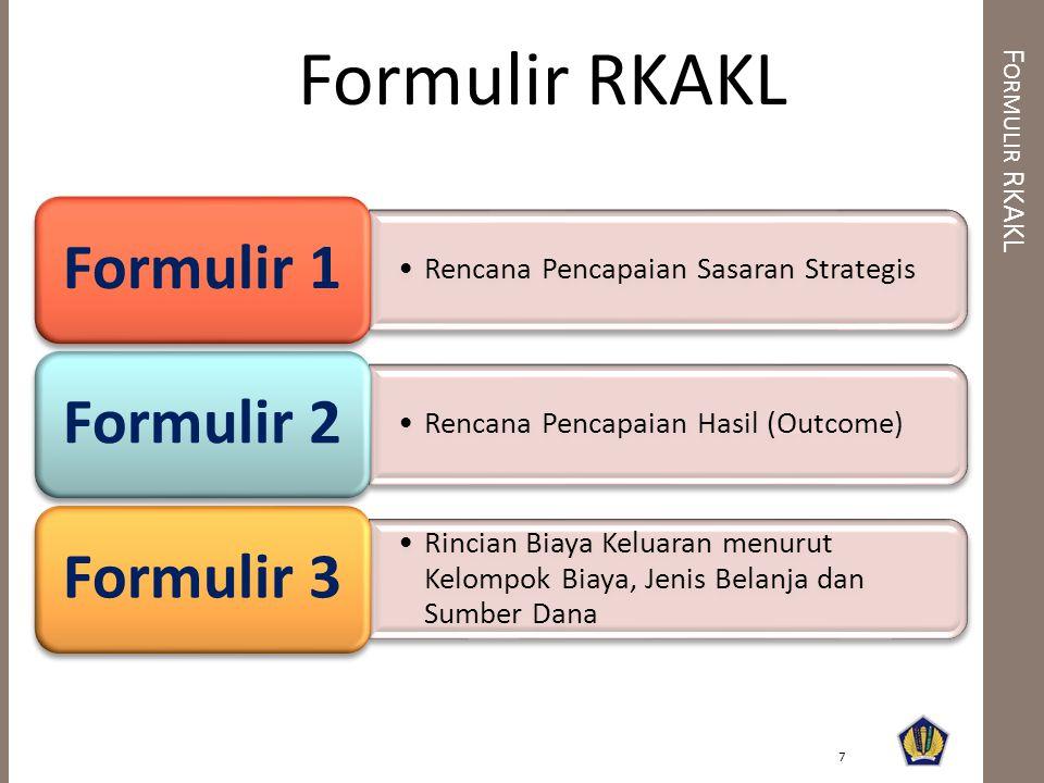 •Rencana Pencapaian Sasaran Strategis Formulir 1 •Rencana Pencapaian Hasil (Outcome) Formulir 2 •Rincian Biaya Keluaran menurut Kelompok Biaya, Jenis Belanja dan Sumber Dana Formulir 3 F ORMULIR RKAKL 7 Formulir RKAKL