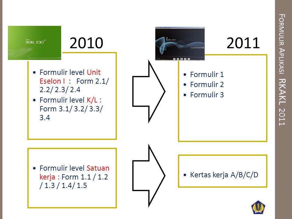 F ORMULIR A PLIKASI RKAKL 2011 •Formulir 1 •Formulir 2 •Formulir 3 •Formulir level Unit Eselon I : Form 2.1/ 2.2/ 2.3/ 2.4 •Formulir level K/L : Form 3.1/ 3.2/ 3.3/ 3.4 •Formulir level Satuan kerja : Form 1.1 / 1.2 / 1.3 / 1.4/ 1.5 •Kertas kerja A/B/C/D 20102011